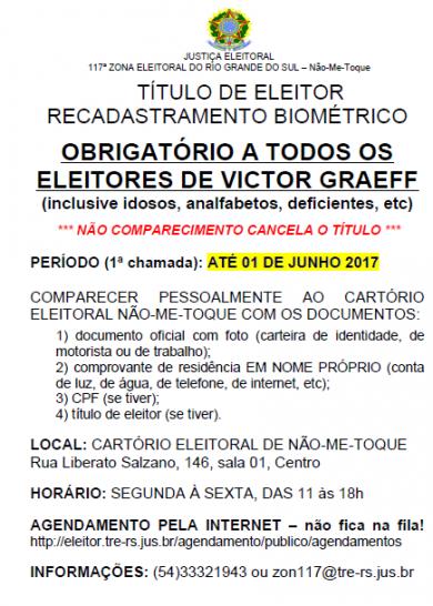 Recadastramento Biométrico para os eleitores de Victor Graeff