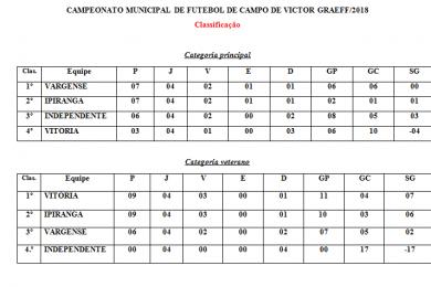 GOLEADORES E CLASSIFICAÇÃO DO CAMPEONATO MUNICIPAL DE FUTEBOL DE CAMPO