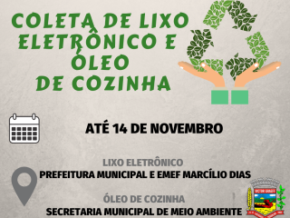 Campanha de coleta de lixo eletrônico e óleo de cozinha segue até o dia 14 de novembro