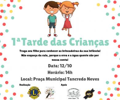 Evento alusivo ao Dia das Crianças será realizado no sábado (12)