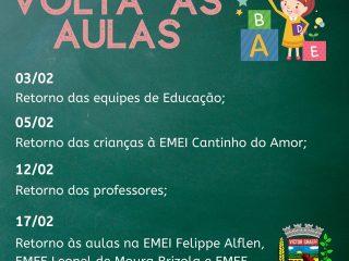 Secretaria Municipal de Educação informa datas de retorno às atividades