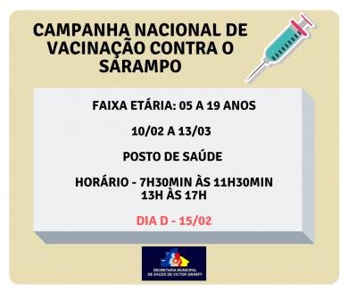 Campanha de Vacinação contra o Sarampo inicia na segunda-feira, dia 10