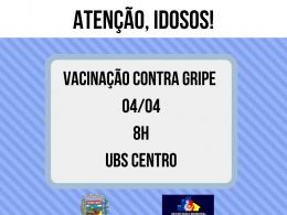 Vacinação contra gripe para idosos segue no próximo sábado (04)