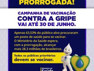 Prorrogada Campanha de Vacinação Contra Gripe até 30 de junho