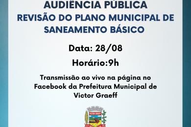 Audiência Pública sobre o Plano Municipal de Saneamento Básico será realizada na sexta-feira (28)