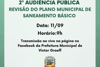 2ª Audiência Pública sobre o Plano Municipal de Saneamento Básico será na sexta-feira (11)